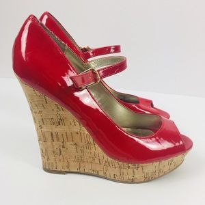 Guess Red Cork Platform Sandals Sz 8.5
